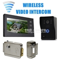 DIYSECUR Wireless 7 Inch Video Door Phone Intercom Doorbell Home Security Camera Monitor + Electric Lock Security Entry Intercom