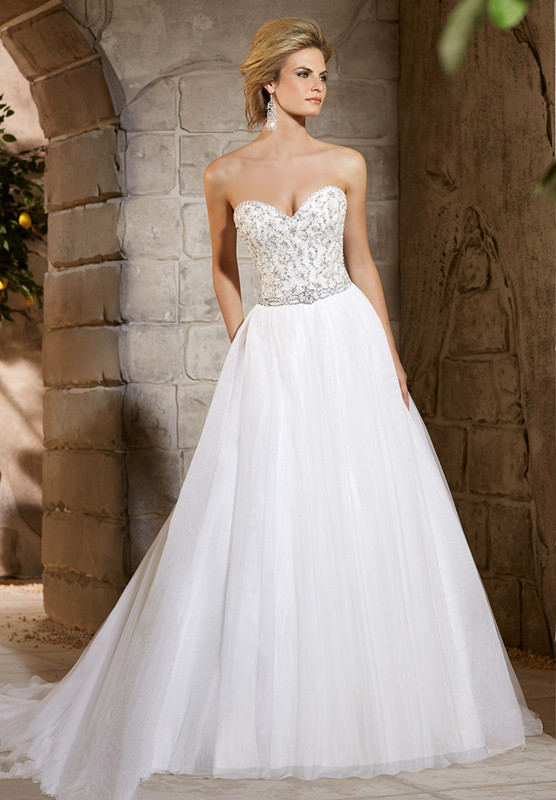 Online Shop Glorious A Line Floor Length Court Train Sweetheart Neckline Beading Bodice Netting Tulle Skirt Bridal Gown Wedding Dresses
