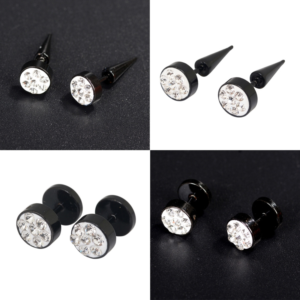 Punk Fashion Round Crystal Ear Stud Stainless Steel Earring Men Women Jewelry