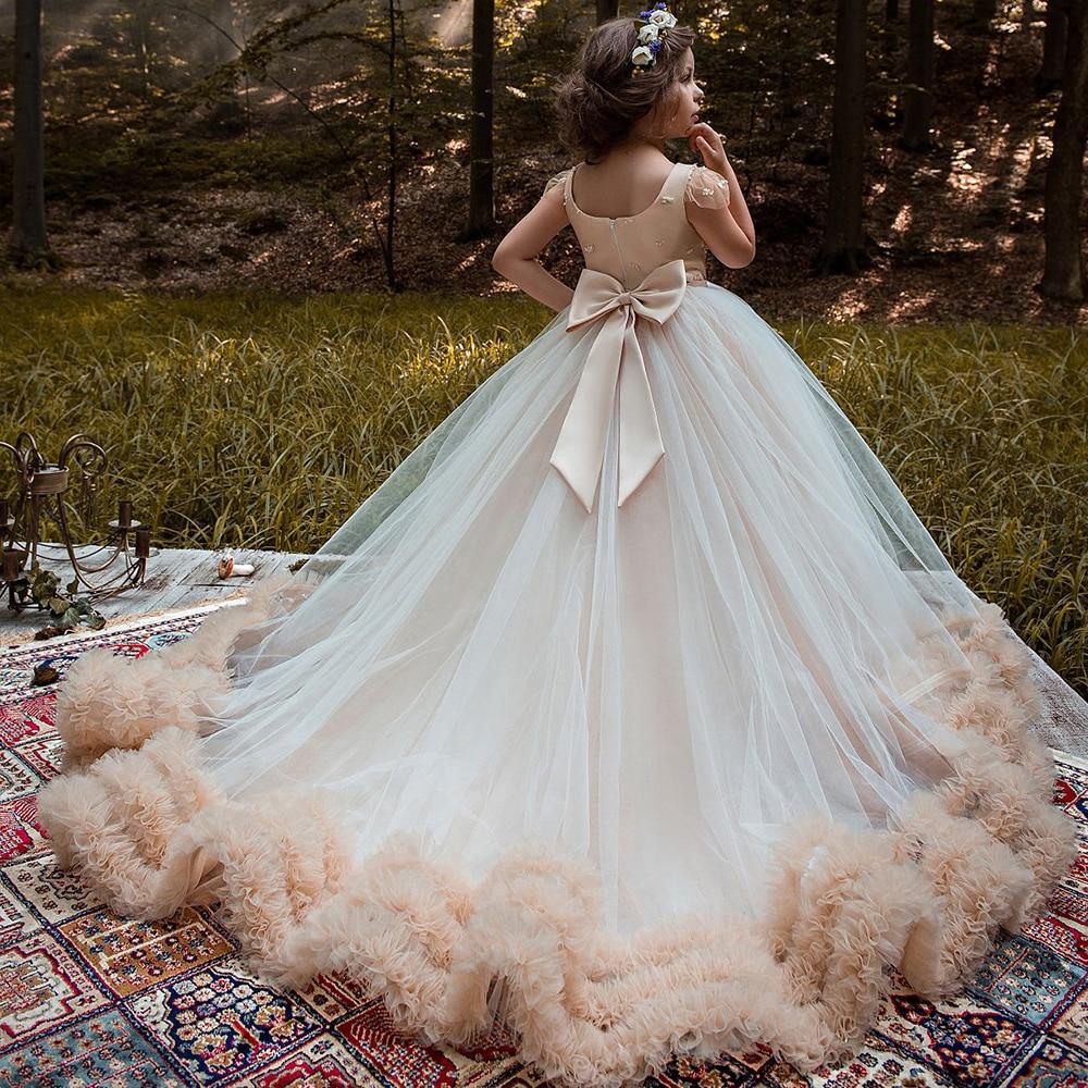 2019 New Pink Tulle Ball Flower Girl Dresses Flower Girl Robes Ruffles Dress Elegant Girl Communion Dresses