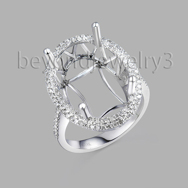 14k Oval Ring Mountings 18x13mm 0 47ct Diamond Semi Mount Engagement Settings For