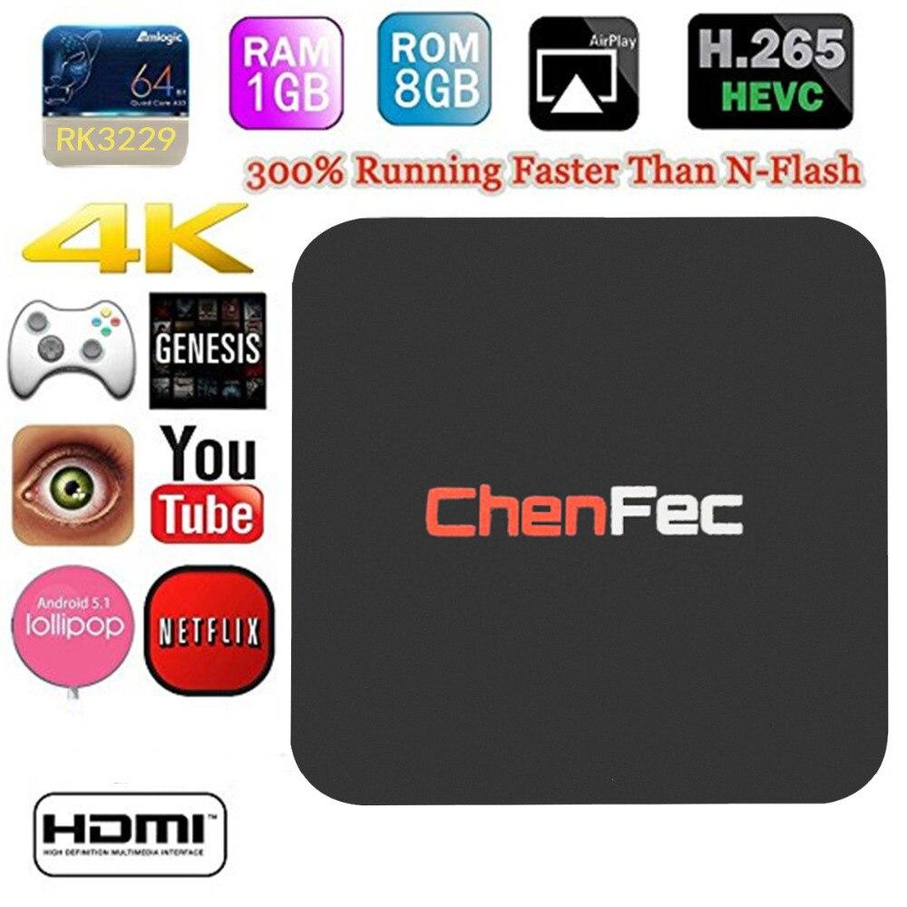 CHENFEC Q1 Pro 4K Android TV Box RK3229 1G/8G Quad-core 4K/2K H.265 3D 2.4G WiFi OTT TV BOX Streaming Media Player