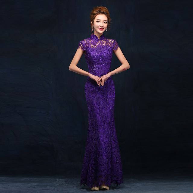 Fashion Purple Long Evening Dress Chinese Wedding Qipao Cheongsam Women Lace Dresses Party Gown Traditional Robe Chinoise Qi Pao