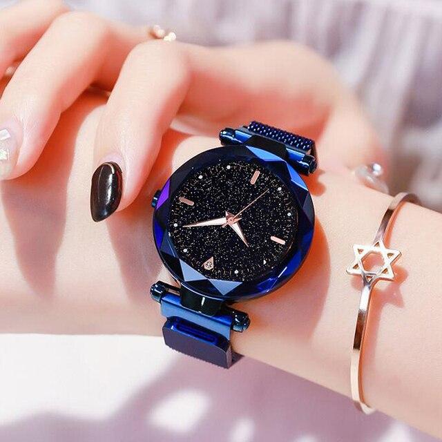 Mulheres Relógios de luxo 2019 Senhoras Relógio Céu Estrelado Magnético Feminino À Prova D' Água Luminosa Relógio De Pulso relogio feminino reloj mujer