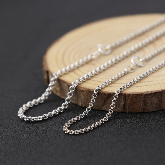 925 sterling silver jewellery vintage fashion necklace for women and men personality 1.5-2mm wide thin circle necklace Chain