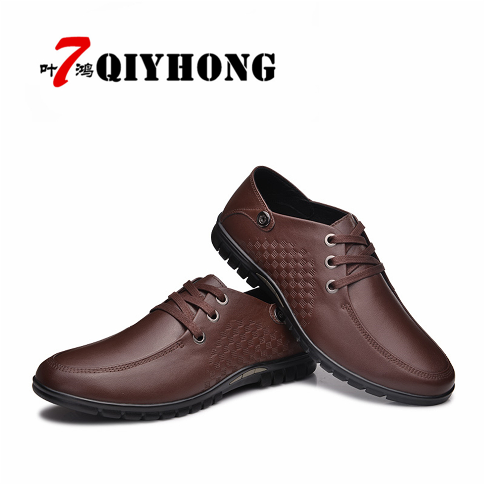 QIYHONG New Fashion Men font b Casual b font Leather font b Shoes b font Genuine