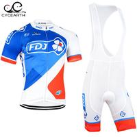FDJ 2015 Cycling Jersey Team Cycling Clothing Quick Dry Cycling Bib Shorts Set With Gel Pad