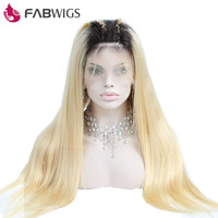 Fabwigs 180% Density 1b 613 Ombre Blonde Lace Front Human Hair Wigs Pre Plucked Lace Front Wig With Baby Hair Remy Hair