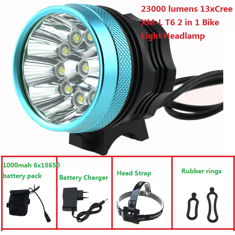 2 in 1 13T6 Bicycle Headlight headLamp 23000 Lumen 13x Cree XM-L T6 Led Cycling Helmet Bike Light + 18650 Battery Pack + Charger 15000 lumen 9x cree xm l2 led 5modes cycling head front bicycle light bike lamp headlamp 4x18650 battery pack charger