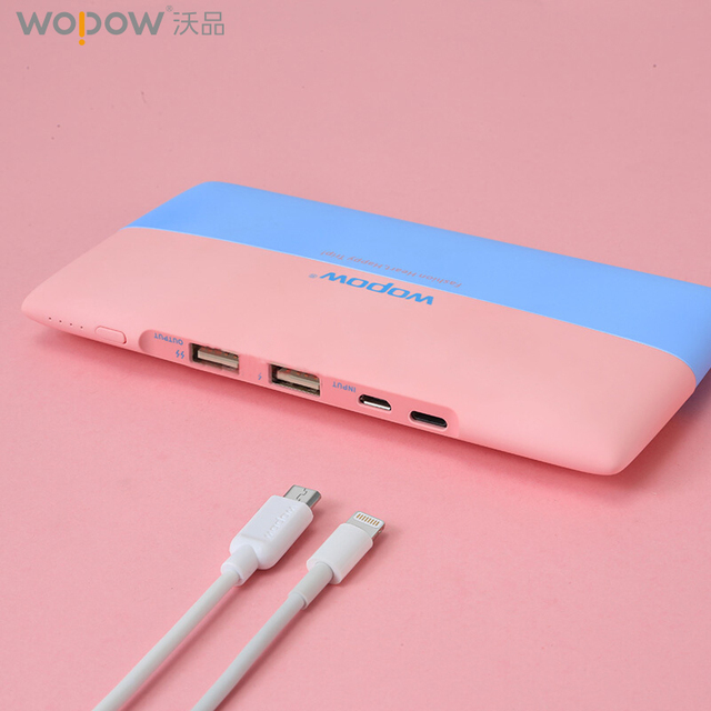 WOPOW 8000mAh Power Bank 18650 External Battery Portable Dual USB quick charge Powerbank for iPhone Samsung for Xiaomi charge