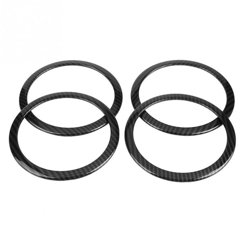 4Pcs Carbon Fiber Style Car Door Speaker Ring Trim Cover