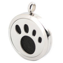 10pcs 30mm Plain Dog Paw Print Aromatherapy Essential Oil Surgical Stainless Steel Perfume Diffuser Locket Necklace