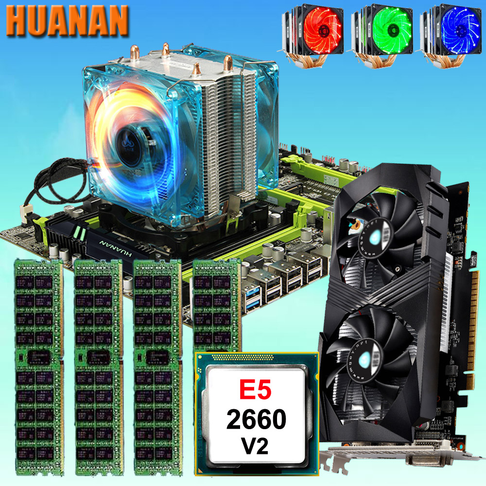 цена HUANAN ZHI X79 motherboard with M.2 slot CPU Xeon E5 2660 V2 SR1AB with cooler RAM 32G(4*8G) 1600 RECC GTX1050Ti 4G video card