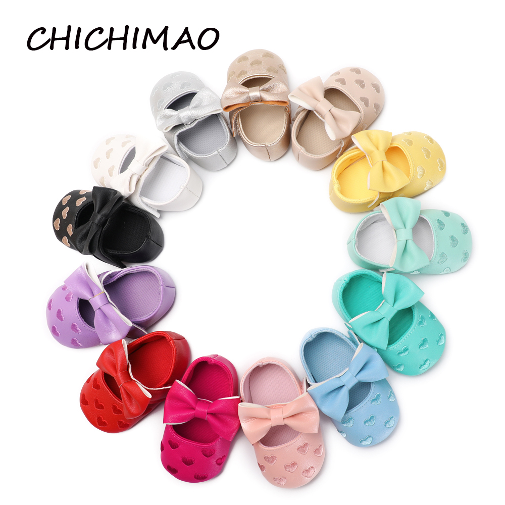 Children Baby Boy Girl Shoe Soft PU Leather Big Fashion Bowknot Knitting Heart Newborn Toddler Crib 13 Color Available Footwear