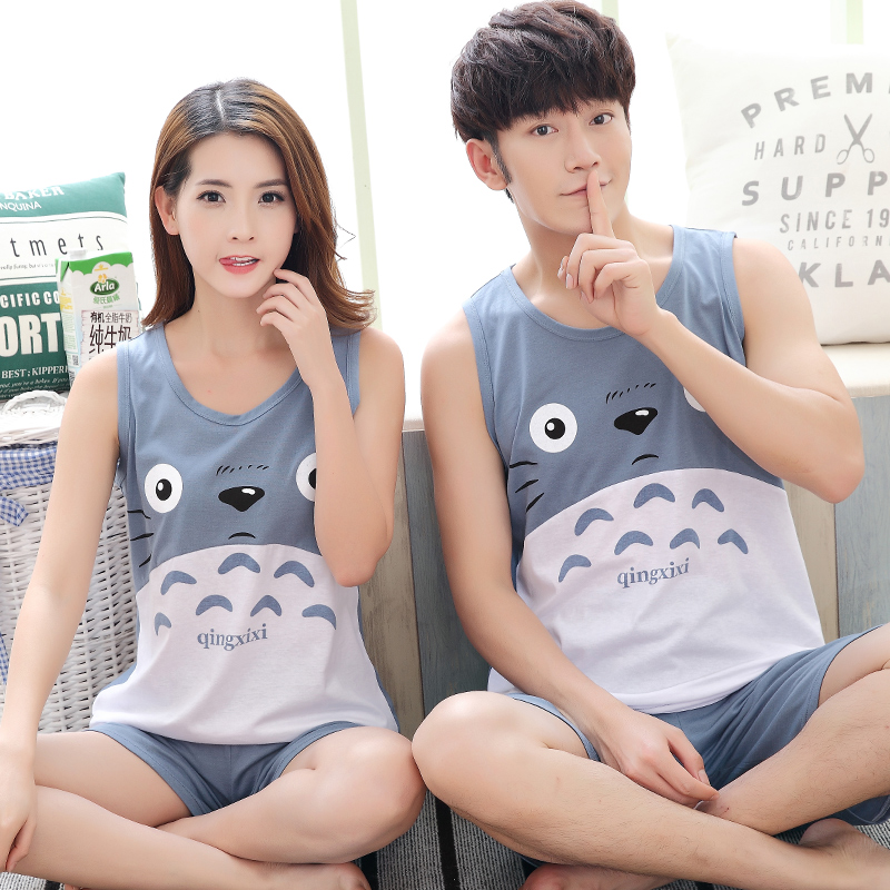 Hot Sale Couple   Pajamas     Set   Summer Men And Women Sleeveless Pyjamas Vest Lovers Sleepwear Plus Size 4XL Nightwear Home Clothing