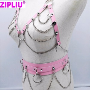 Image 4 - new Fashion Sexy Harajuku Handmade Choker harness punk Collar belt Necklace Spikes and Chain torques club party two layers set
