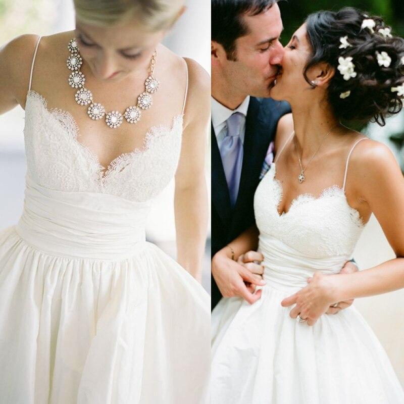 Elegant Spaghetti Straps Lace Wedding Dresses 2016 Sweetheart A Line ...