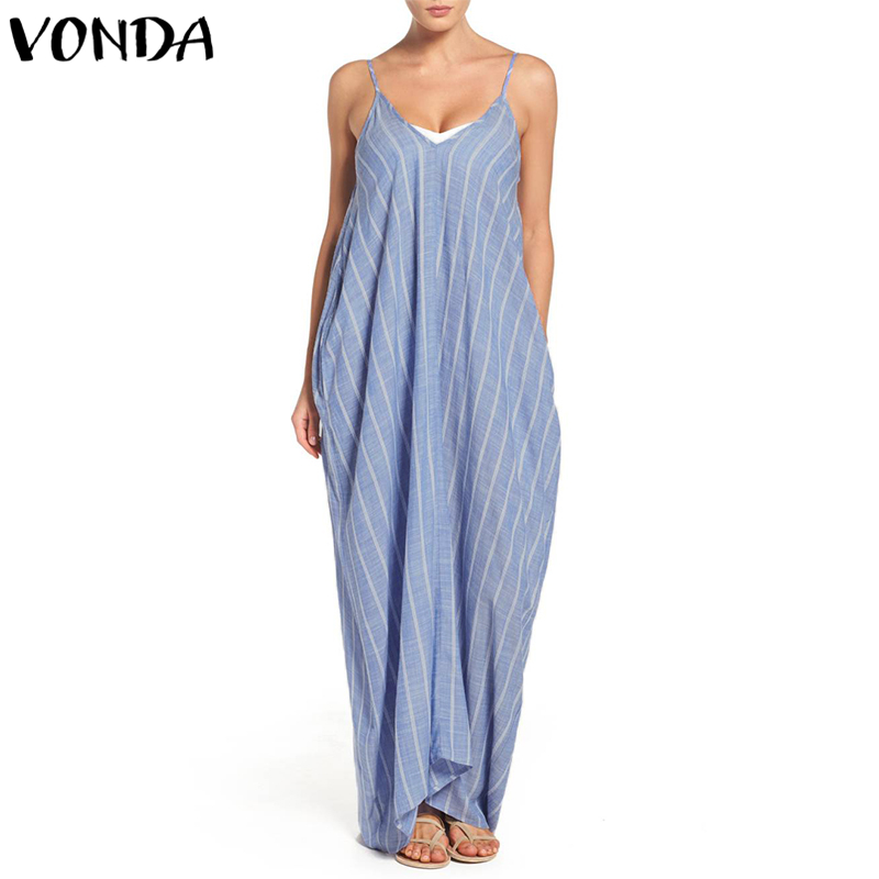 Striped Dress 2018 Summer Women Sexy V Neck Backless Long Maxi Dresses Vintage Casual Loose Vestidos Plus Size Sundress