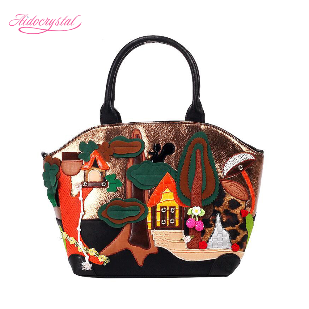 ФОТО Aidocrystal 2016 women lovely bags Italy Handbag Retro Handmade cartoon house embroidered Single Shoulder bag for Ladies