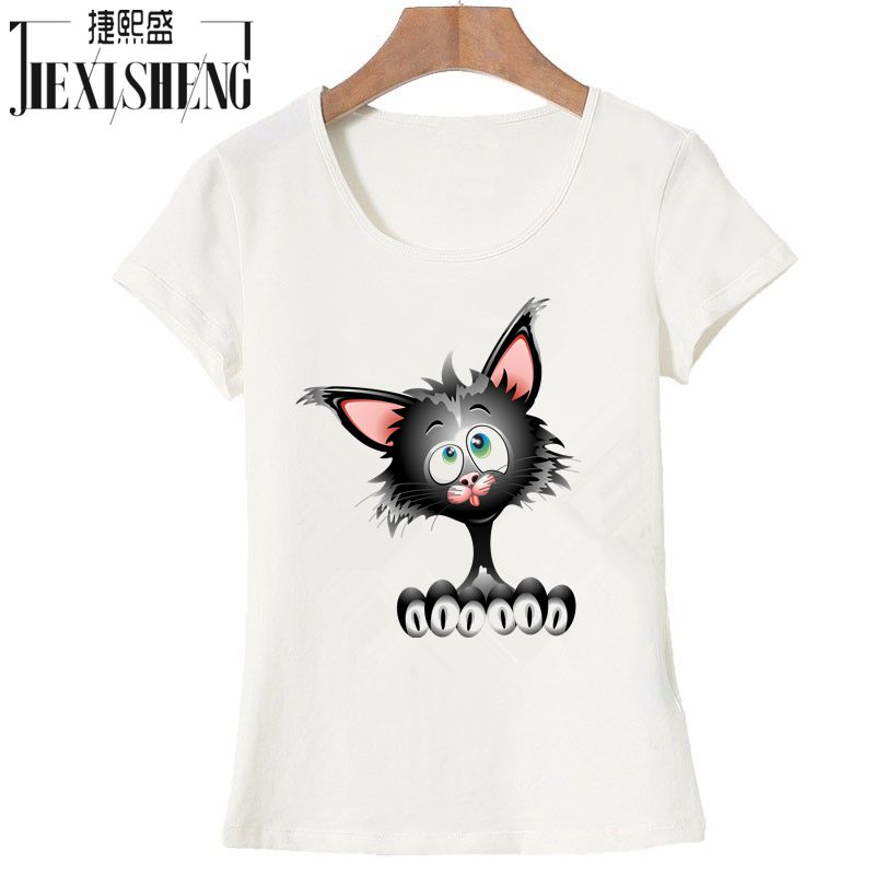 Women T Shirt Fashion Summer Cotton Short Sleeve T-shirt Cartoon Tom Cat Printed Brand Tops HH252