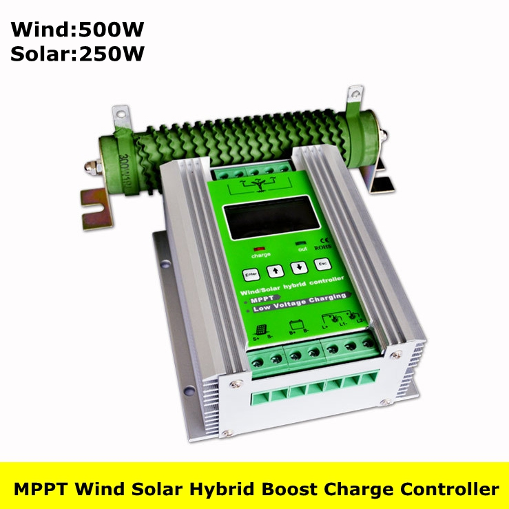 750W MPPT Wind Solar Hybrid Boost Charge Controller Wind 500W+Solar 250W 12V/24V Auto Hybrid Controller Boost Charge Dump Load 1000w wind solar hybrid controller 600w wind turbine 400w solar panel charge controller 12v 24v auto with big lcd display