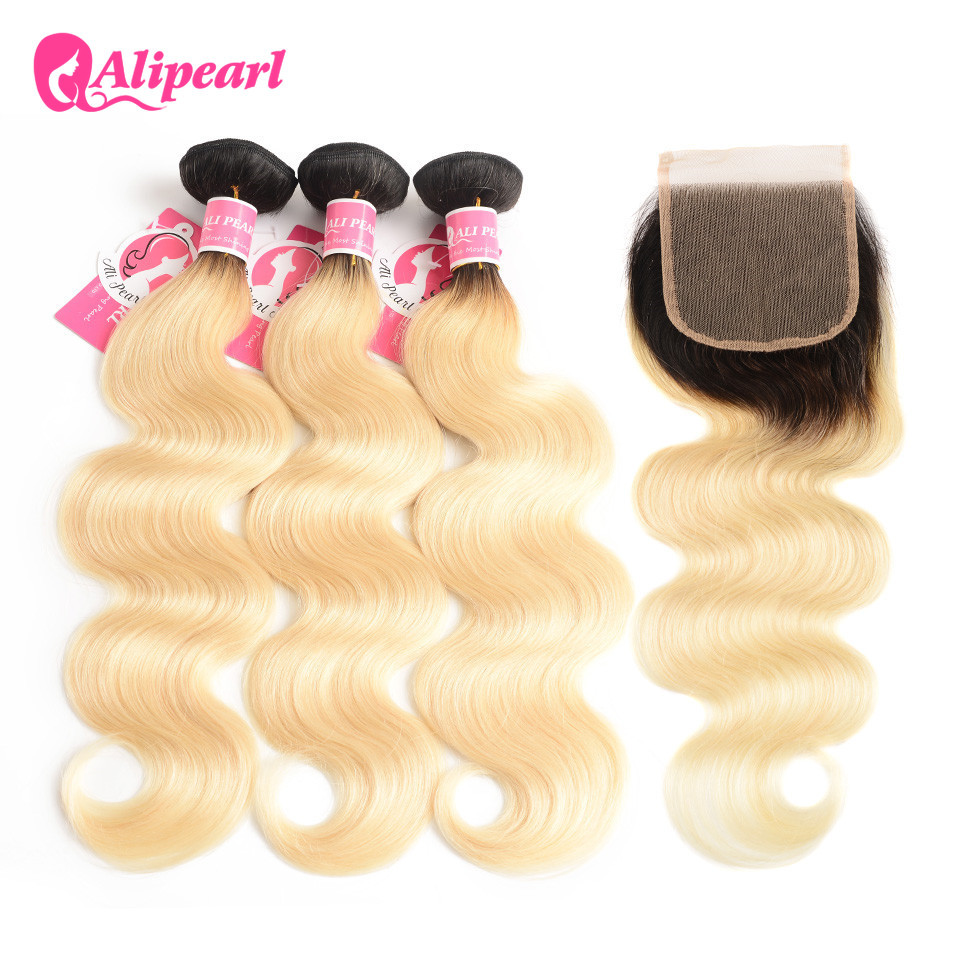 AliPearl Hair 1b/613 Blonde Bundles With Closure Free Part Brazilian Body Wave Human Hair Bundles 10-24inch Remy Hair Extensions image