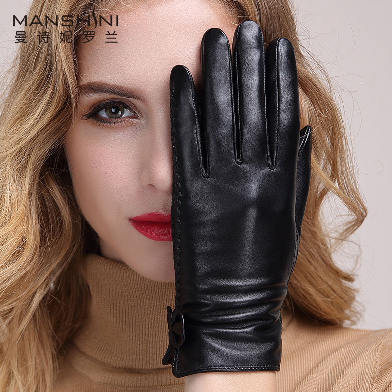 2018 Winter Sheepskin Gloves women 39 s leather gloves thick warm touchscreen gloves women 39 s telefingers gloves for winter MLZ010 in Women 39 s Gloves from Apparel Accessories