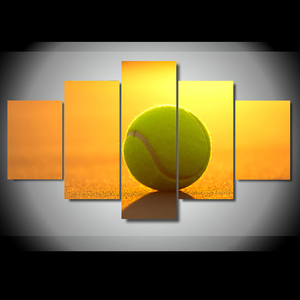 Home Framework Living Room HD Printed Modern 5 Panel Tennis Sunshine Modular Decor Posters Picture On Canvas Wall Art Painting