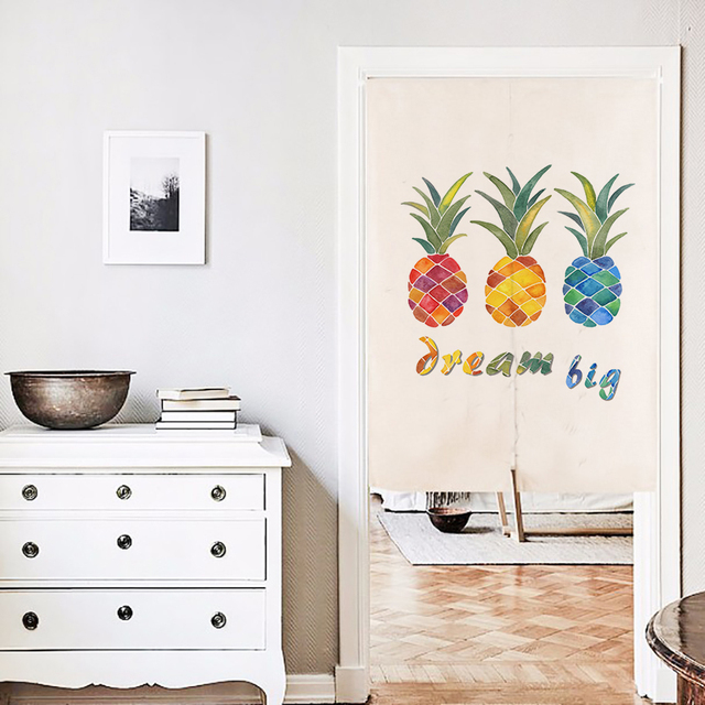 Japanese Door Curtain Linen Pineapple Printed Short Curtains For Living  Room Creative Kitchen Door Curtains Home