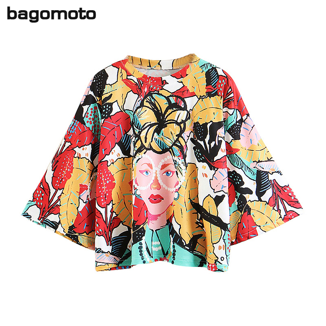 4ef6cdbb1efd bagomoto 2018 Summer Tropical Wind Women T Shirts Sexy Printing Round Neck  Chiffon Tops Harajuku Girl Power Long Sleeve T-shirt