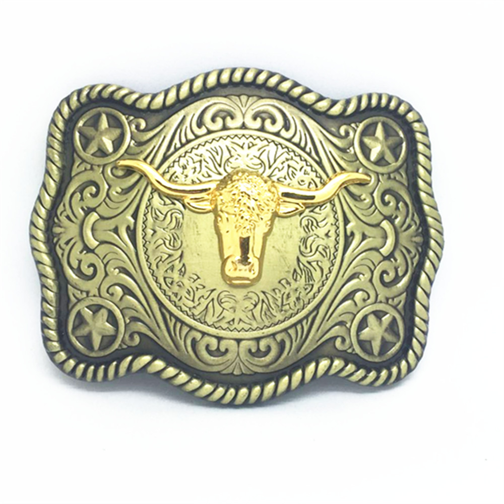 Cowboy Double Color Belt Buckle Luxury Tauren Retro Mode Suitable For 4.0 Belt Buckle
