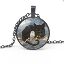 Fashion Black Cat Owl Pattern Necklace Glamour Painting Glass Crystal Pendant Sweater Chain Mens Womens Accessorie Jewelry