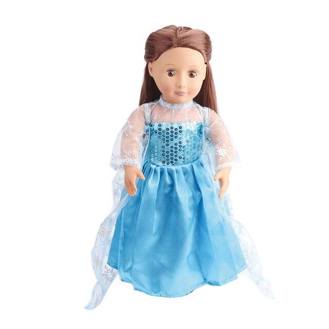 18 cali dziewczyny sukienka dla lalek sukienka księżniczki elsy niebieska gaza suknia amerykańska noworodka spódnica zabawki dla dzieci fit 43 cm lalki dla dzieci c79