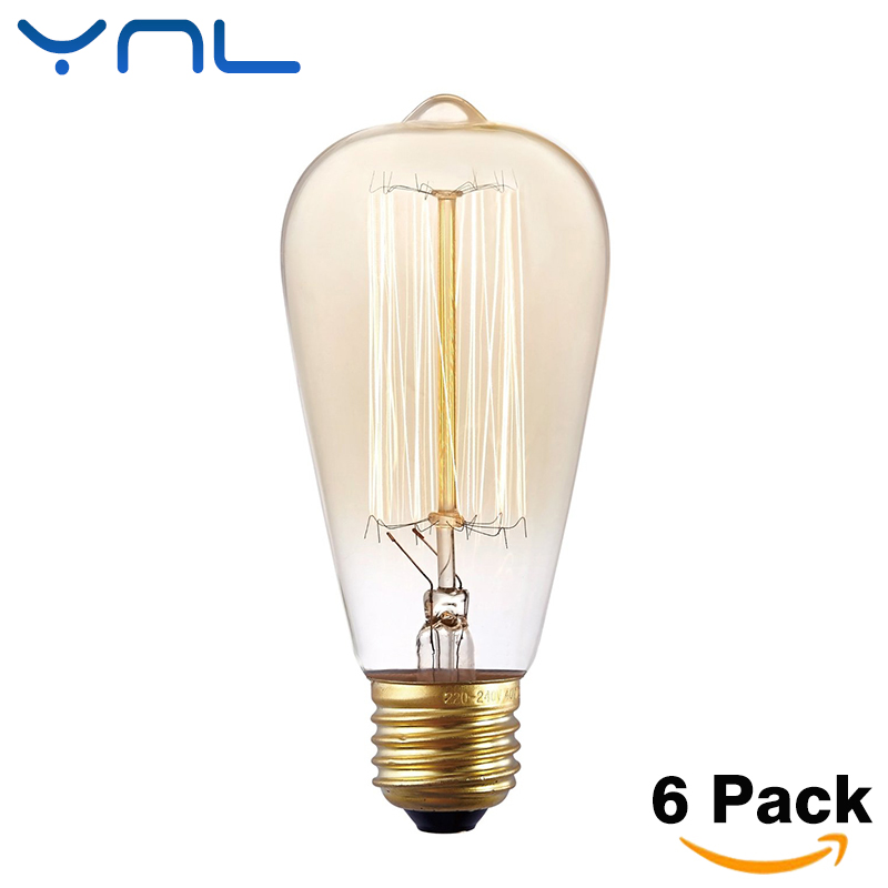 YNL 6pcs/lot ST64 220V E27 40W Retro Vintage Edison bulb Lamp incandescent light filament bulb decorative Edison light bulb