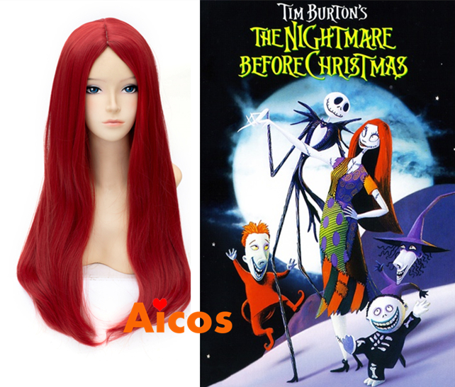 the nightmare before christmas sally red straight aicos anime cosplay wigs cap free shipping on aliexpresscom alibaba group - Sally Nightmare Before Christmas Wig