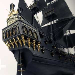 Wood Model Building-Kit Upgraded Pirates-Of-The-Caribbean Full-Interior 1/35 Black Pearl