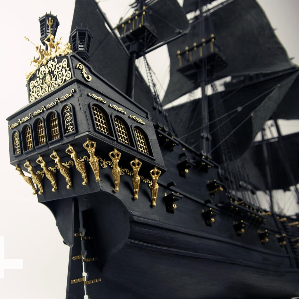 2018 version upgraded 2015 Black Pearl sailing ship full interior <font><b>1</b></font>/<font><b>35</b></font> in Pirates of the Caribbean wood model building <font><b>kit</b></font> image