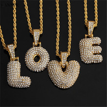 Canner Hip Hop 26 A-Z Letter Necklace Men Gold Chain Punk Iced Out Zirconia Crystal Initial Choker Women
