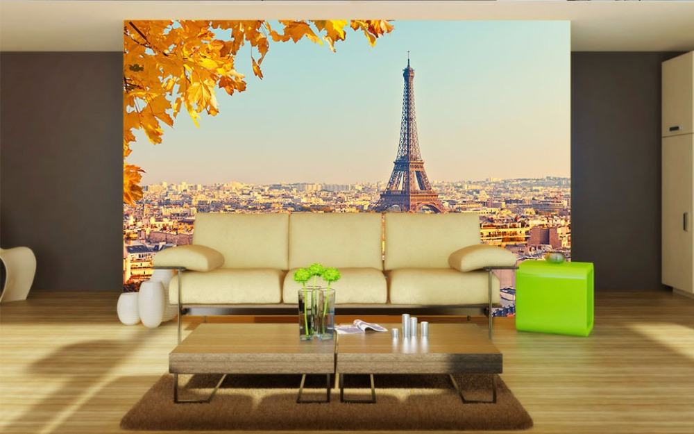 Us 23 76 45 Off Morden Custom 3d Wallpaper Home Hotel Cinema Office Wall Decoration Painting Maple Leaf Eiffel Tower Europe Style Wallmural In