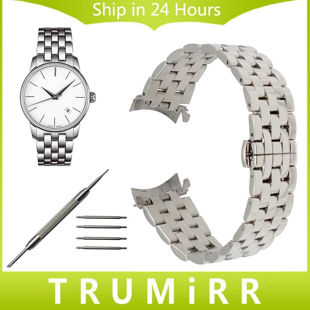 Curved End Stainless Steel Watchband for Mido Titoni Michel Herbelin Watch Band Butterfly Buckle Wrist Strap 18mm 20mm 22mm 24mm
