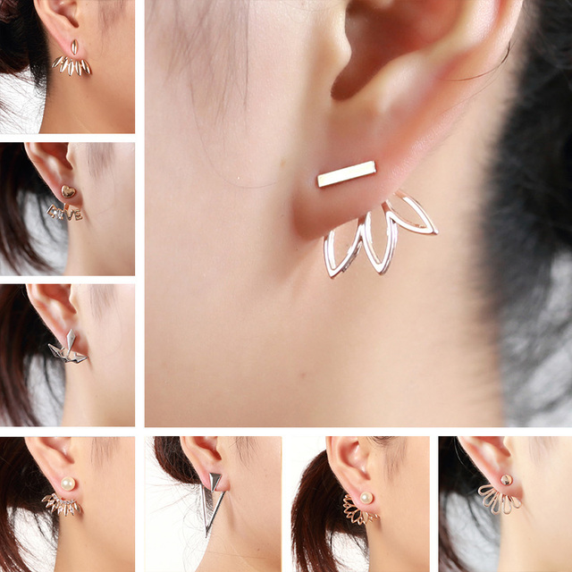 Women Stainless Steel Earring Simple Gold/Silver color Hollow Glossy Geometric shape Charm Double Sieded Stud Earrings Jewelry