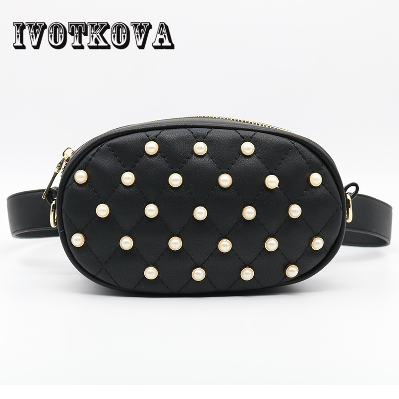 IVOTKOVA White Pearl Women Waist Bags 2018 New Design Lady Shoulder Bags Pu Leather Female Funny Packs Hot Sale Girl Belt Bags