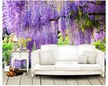 Custom 3d fashion background photography purple flower vine romantic wallpaper interior decoration painting photo wall mural