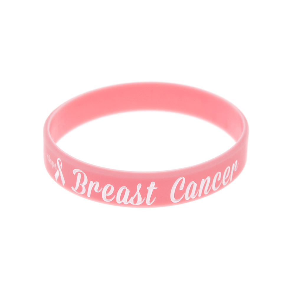 Image 3 - OneBandaHouse 50PCS/Lot Motivation Bracelet Hope Ribbon Breast Cancer Awareness Silicone Wristband Pink Fashion Arm Band-in ID Bracelets from Jewelry & Accessories