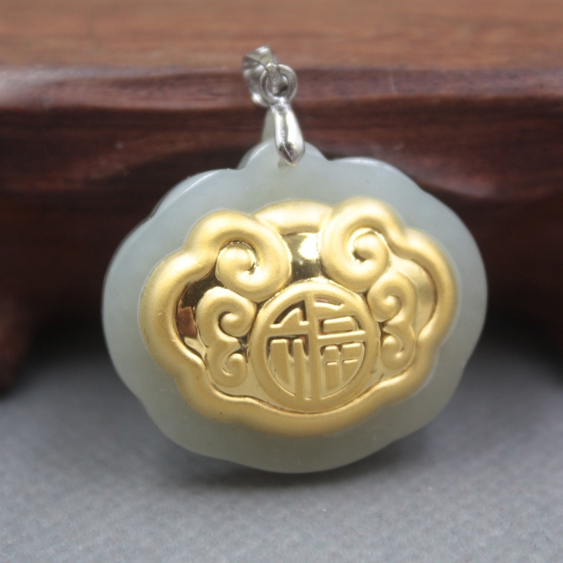 New Fine 24K Yellow Gold & Hetian Jade Pendant Women Men  Lock Fu Pendant 30x27mm