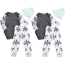 Autumn Baby Clothes Set 3pcs Toddler Baby Infant Boys Girls Outfits Long Sleeve Bodysuit Tops+Pants+Hat Bbay Clothing Set