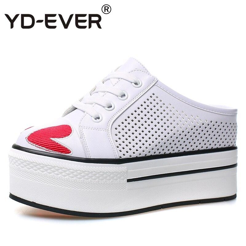 Wedge Chaussures Pompes White Yd D'été Super Véritable forme Pantoufles Lacent Sport Cuir ever Plate Femmes Talon En De Creux Haute HWUxwf8qXU