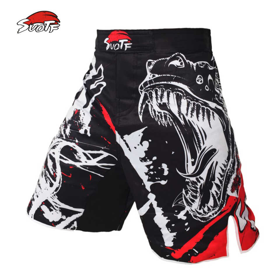 Suotf Hitam Gaya Tinta MMA Kebugaran Bernapas Mendominasi Berteriak Celana Pendek Melawan Tinju Tiger Muay Thai dengan Harga Murah MMA Celana Pendek Boxeo