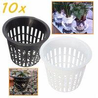 10 мм шт./лот 35 мм черный, белый цвет пластик гидропонная установка сетка горшок корзины сад завод сетки чашка для выращивания