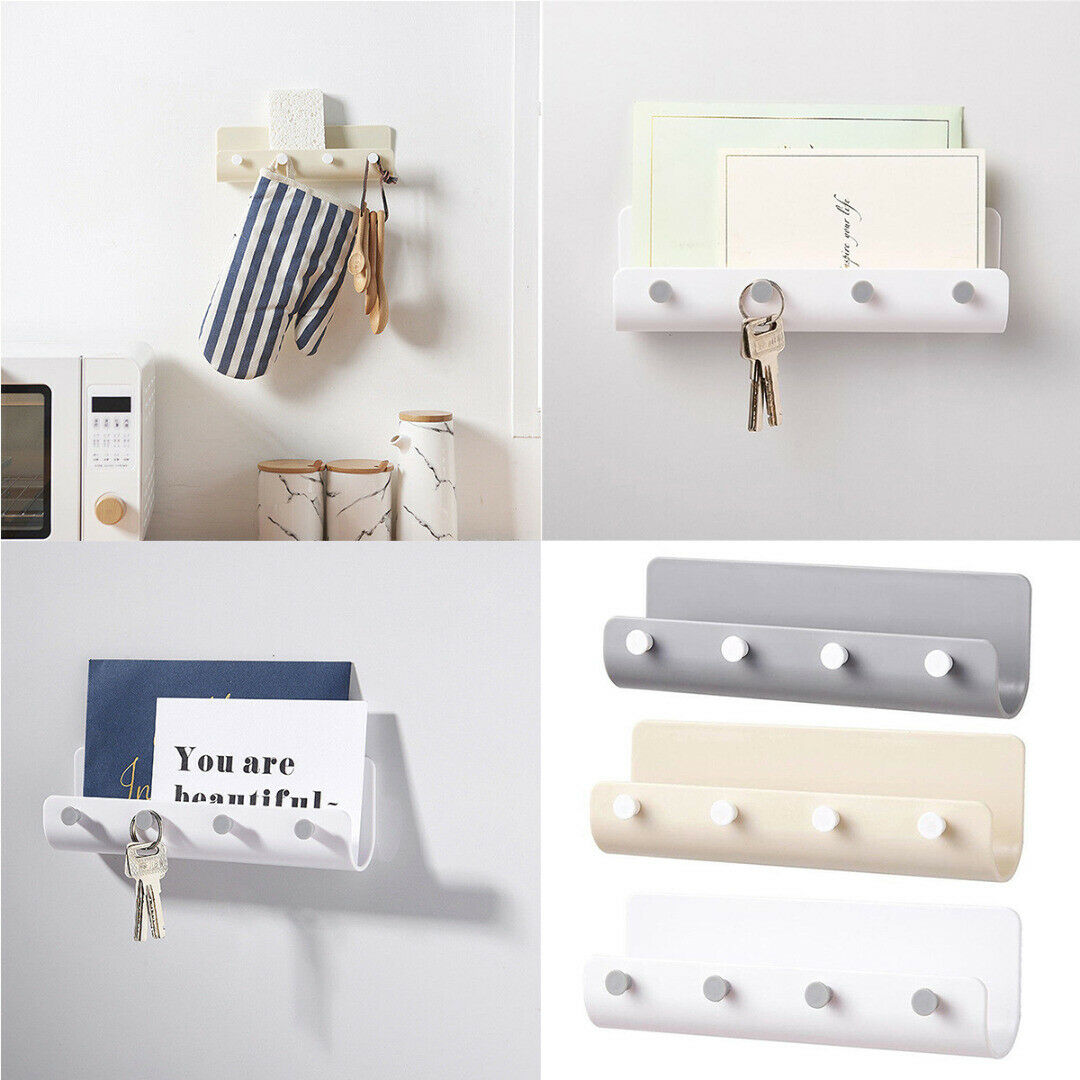 Hot New Three Color Key Holder Rack Post Organizer Letter Box Mail Door Hanger Wall Mount 4 Hooks Home Holks Tools